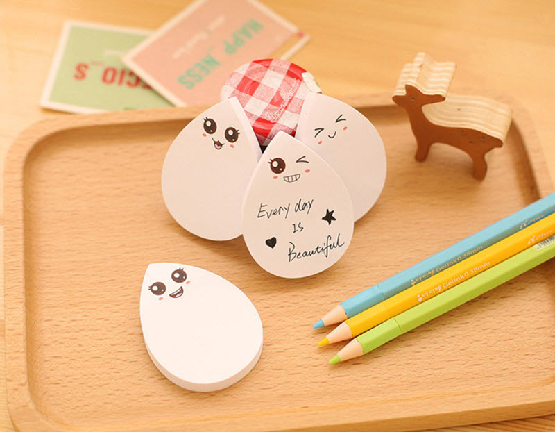 1pc Cute Water Droplets Shape Memo Pad Sticky Notes Post It Bookmarks Sticker Office School Leave Message Stationery Supplies