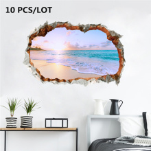 10PCS INS HOT Wall Sticker 3D Beach Family Home Decor Bedroom Living room TV Mural Cute Wallpaper Door Stickers
