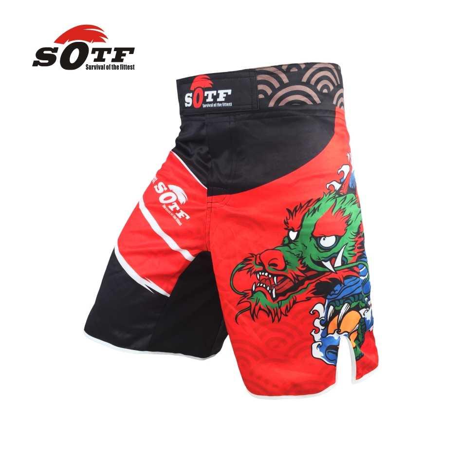 Sotf vermelho dragão chinês formação de combate respirável mma ginásio shorts tigre muay thai boxeo boxing shorts roupas kickboxing