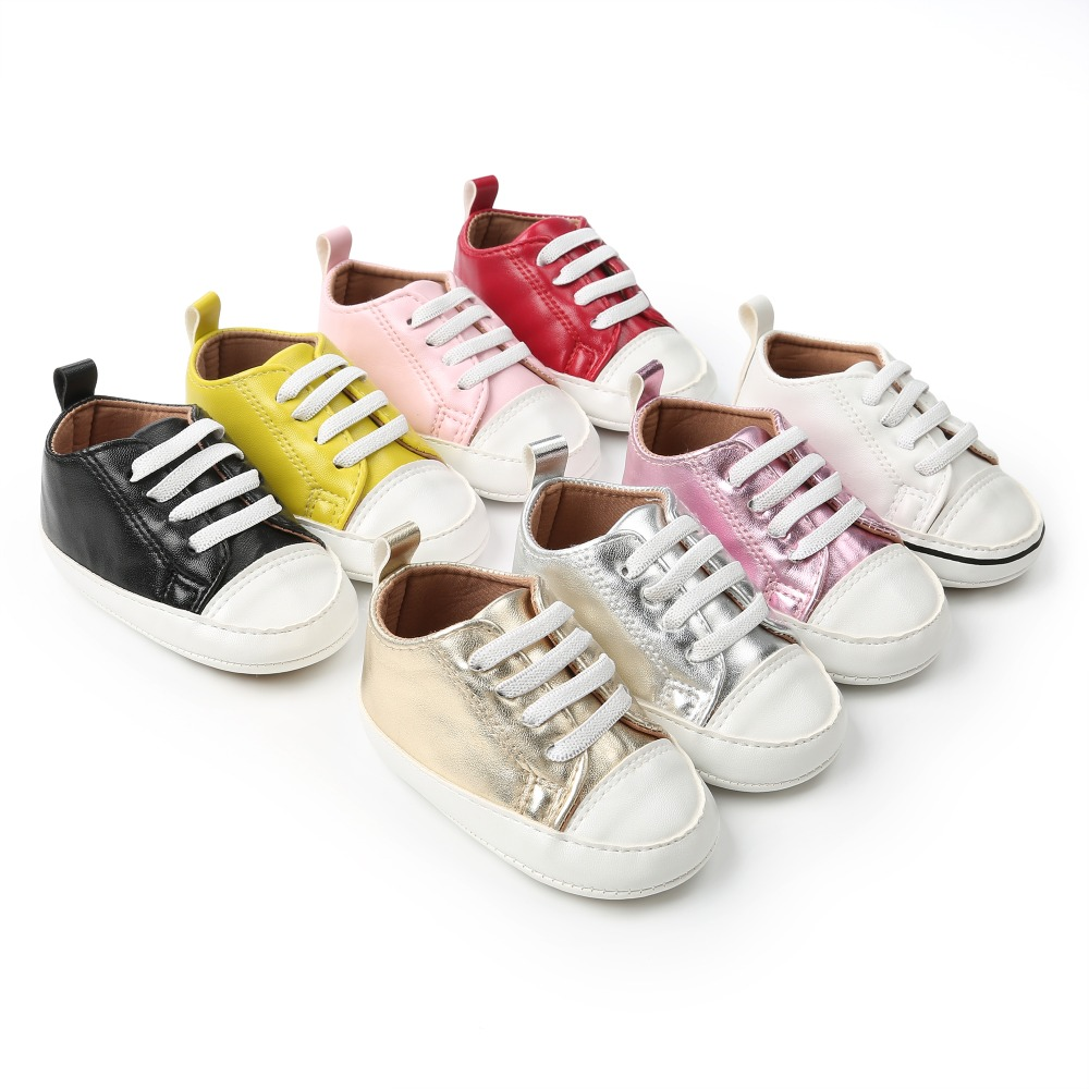 Shallow First Walkers PU Leather Lace-Up Classic Sneaker Toddlers For 0-18 Months Soft Sole Baby Boy Girl Shoes Wholesale