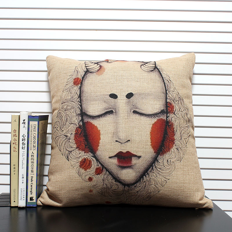 Decorative Home Cotton Linen Pillow Case Original Classic Gothic Devil Pattern Cotton Linen Pillow Cover D-041