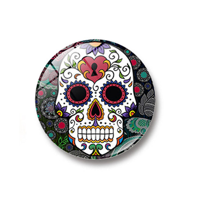 1pc glass dome round cool skull refrigerator sticker fridge magnet message holder home decoration