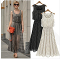 Women Ankle Long Chiffon Dress Black Grey White Dot Sleeveless See Thought maxi dress Vestidos Casual free shipping D50