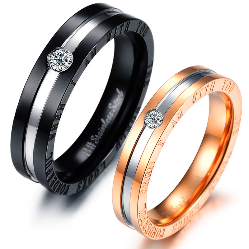 2 pieces hot selling his and hers matching ring set engagement promise rings stainless steel jewelry - Black Wedding Rings For Him And Her
