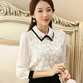 Chiffon Flowers Lace Hollow Out Blouse White Lace Blouse Blusas Com Renda Flower Blouse Chiffon Blouses Peter Pan Collar