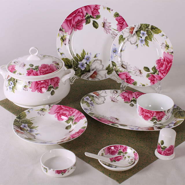 Household gifts 56 Chinese bone china tableware suits crockery dishes sub Cheap Free Post & Household gifts 56 Chinese bone china tableware suits crockery ...