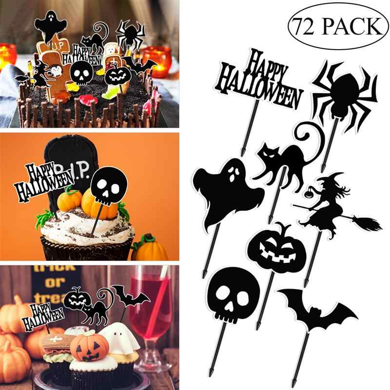 72pcs Pumpkin Ghost Cake Toppers Cupcake Toppers Fruit Forks Cake Stands Cake Pick For Birthday Halloween Garden Party Supplies
