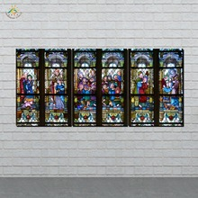 Christian Stained Glass Style Flower glass Picture And Poster Canvas Painting Modern Wall Art Print Pictures 3 PIECES