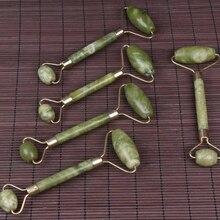 Double vert Jade rouleau Facial rouleau visage masseur minceur visage cou lifting masajeador Massage du visage pierre beauté soins de santé