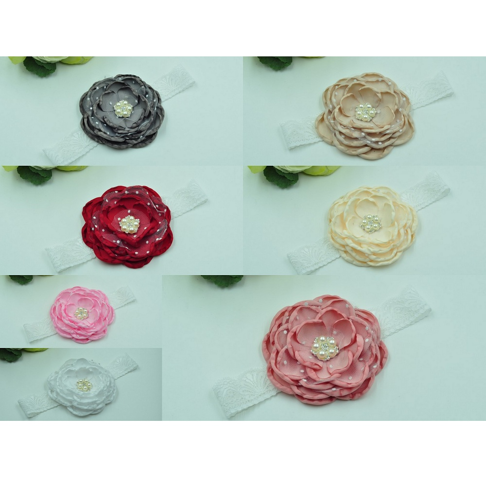 14pcs lot Layered Flower Headband Satin Flower Headband Baby Elastic Headwear Kids Girls Hair Accessories Queenbaby