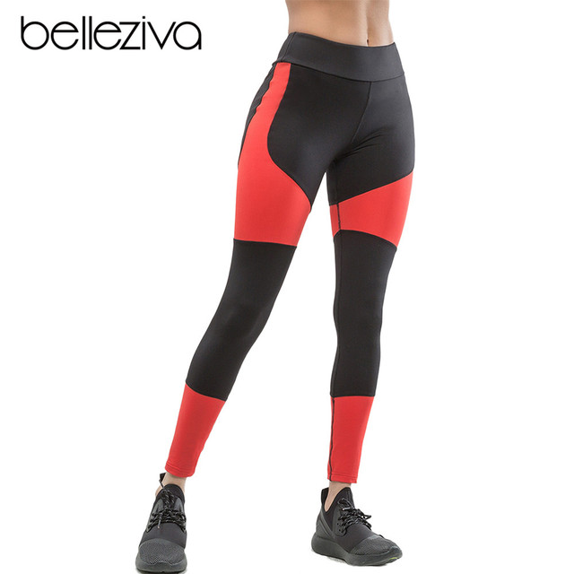 1f51d0f957a19 Belleziva Women Running Leggings Slim Sport Yoga Pants Push Up Fitness Tights  Gym Sportswear Contrast Color