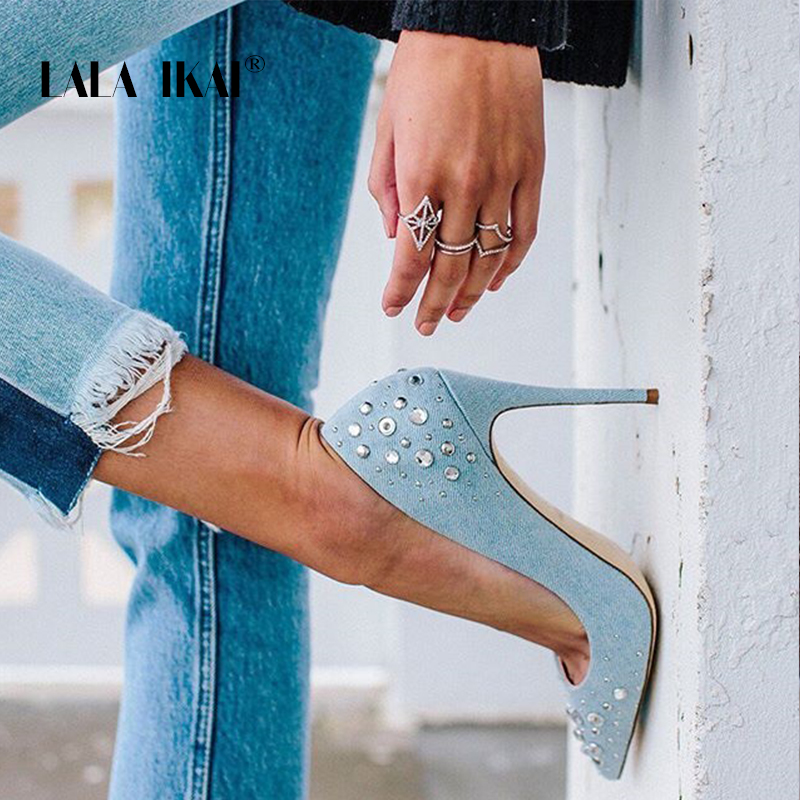 LALA IKAI Ladies Rhinestones Blue Shoes Denim Slip-On Thin Heel Office Party Pumps Sexy Pointed Toe High Heels 014C1859 -49
