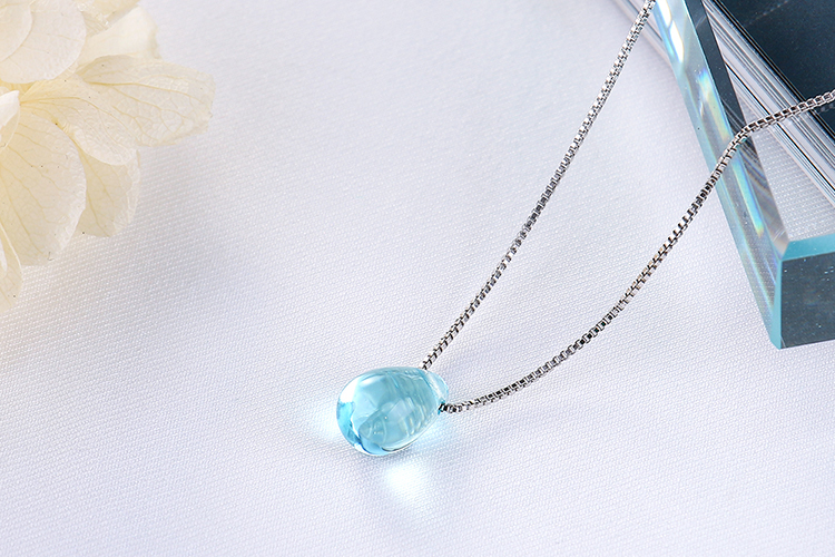 Anenjery Literary Artificial Blue Crystal Water Drop Necklace 925 Sterling Silver Clavicle Chain Necklace For Women Girl S-N292 12
