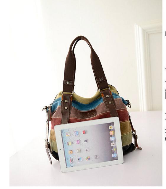 New Hot women bags Panelled Canvas Bags Casual Patchwork Handbag Shoulder Bags Big Shopping Stripe rainbow bag