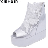 Woman Summer Boots Lace Gauze Sexy Platform Sandals Fashion Casual Shoes Lady Party Wedding Pumps Dress