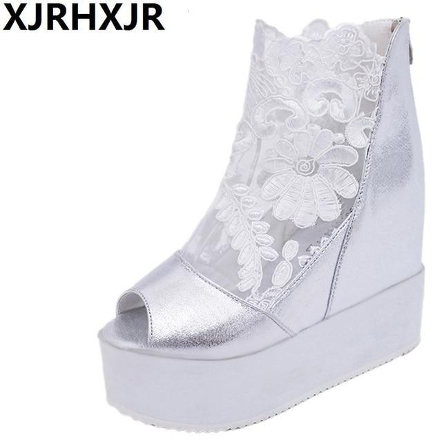 Woman Summer Boots Lace Gauze Sexy Platform Sandals Fashion Casual Shoes  Lady Party Wedding Pumps Dress Sandals Size 35-39 643db3bc7df4