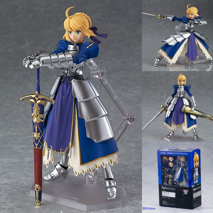 Anime Fate stay Night Saber Figma PVC Action Figures Toys # 227 Collectible Model Toys 14cm Free Shipping fate stay night fate cosplay saber 14cm 5 5 boxed faceswipe garage kit action figures toys face change model