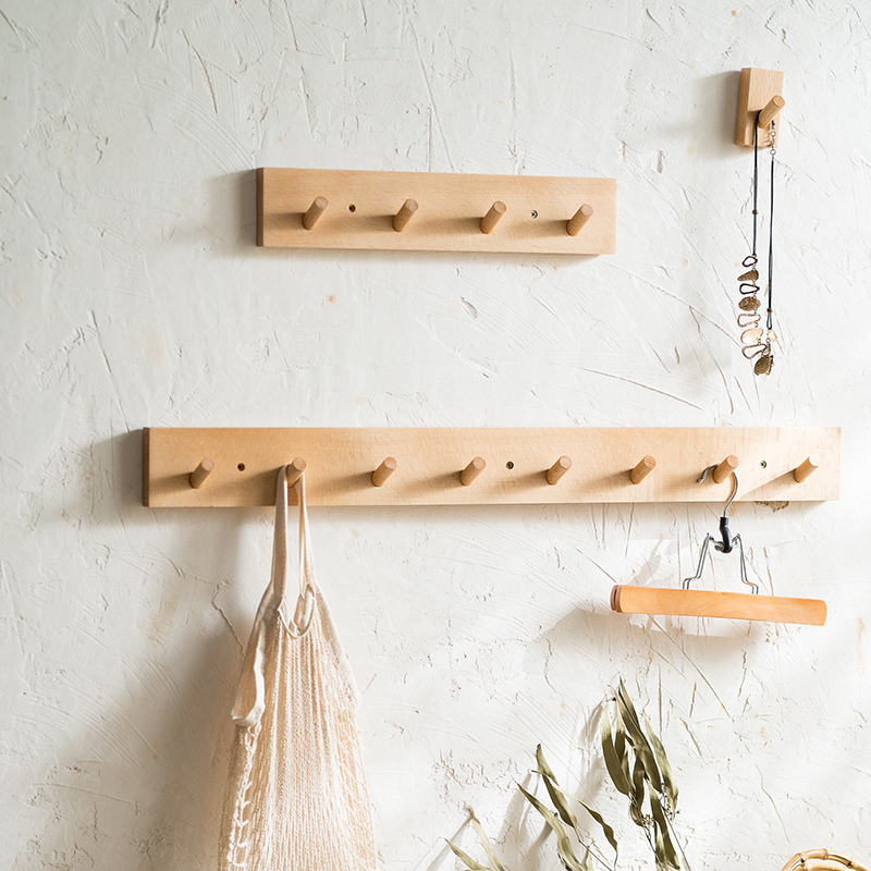 Eco-friendly Wooden Coat Hooks Natural Wall Hanger Hook Hat Clothes Bag Rack Storage Shelf Key Holder Organizer with 7 Hooks