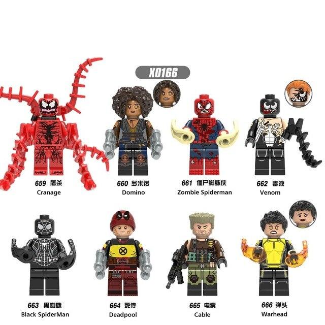 Para legoing Figuras Homem De Ferro Do Homem Aranha Preto Doutor Estranho Veneno Cabo Ogiva Deadpool Modelo Blocos de Construção Kits Brinquedos Tijolo
