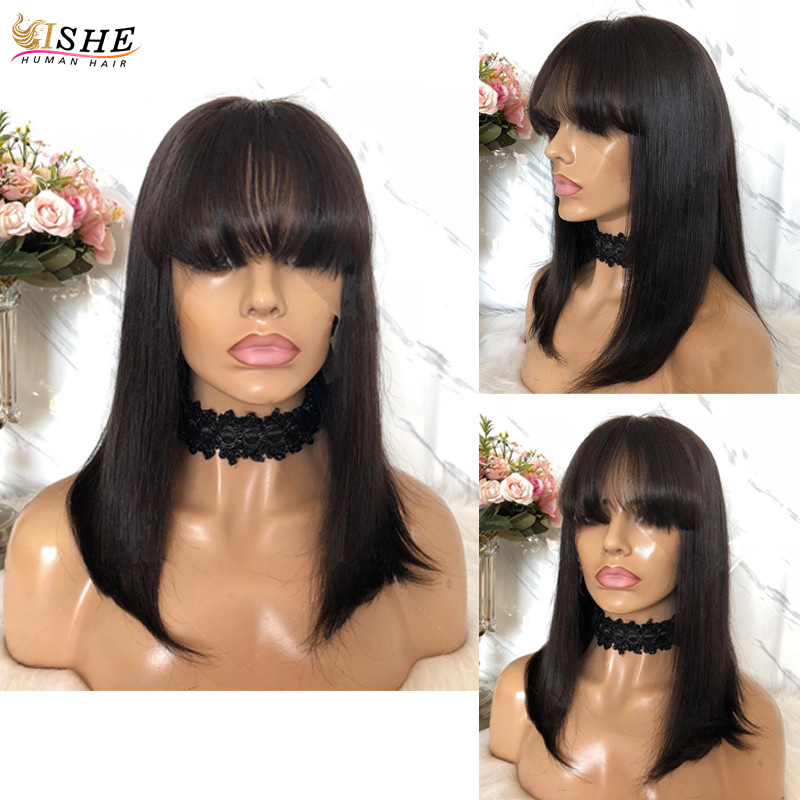 Image 4 - Ombre Red 99J Bob Wigs With Bangs 13x6 Lace Front Human Hair Wigs Indian Remy Hair Straight Full For Women With Bang Black Hair-in Lace Front Wigs from Hair Extensions & Wigs