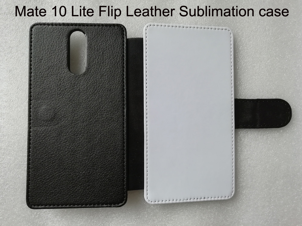 Flip Leather phone case for Huawei Mate 10 Lite  Sublimation Leather + hard case + blank printable polyester cloth