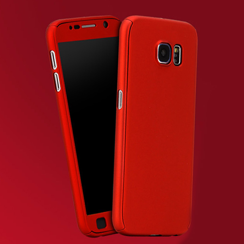 new product ff2b9 e8697 US $3.14 |2017 New Hybrid Front Back Full Body Cover 360 Case For Coque  Samsung Galaxy S6 S7 + Clear Tempered Glass Screen Protector Film-in Fitted  ...