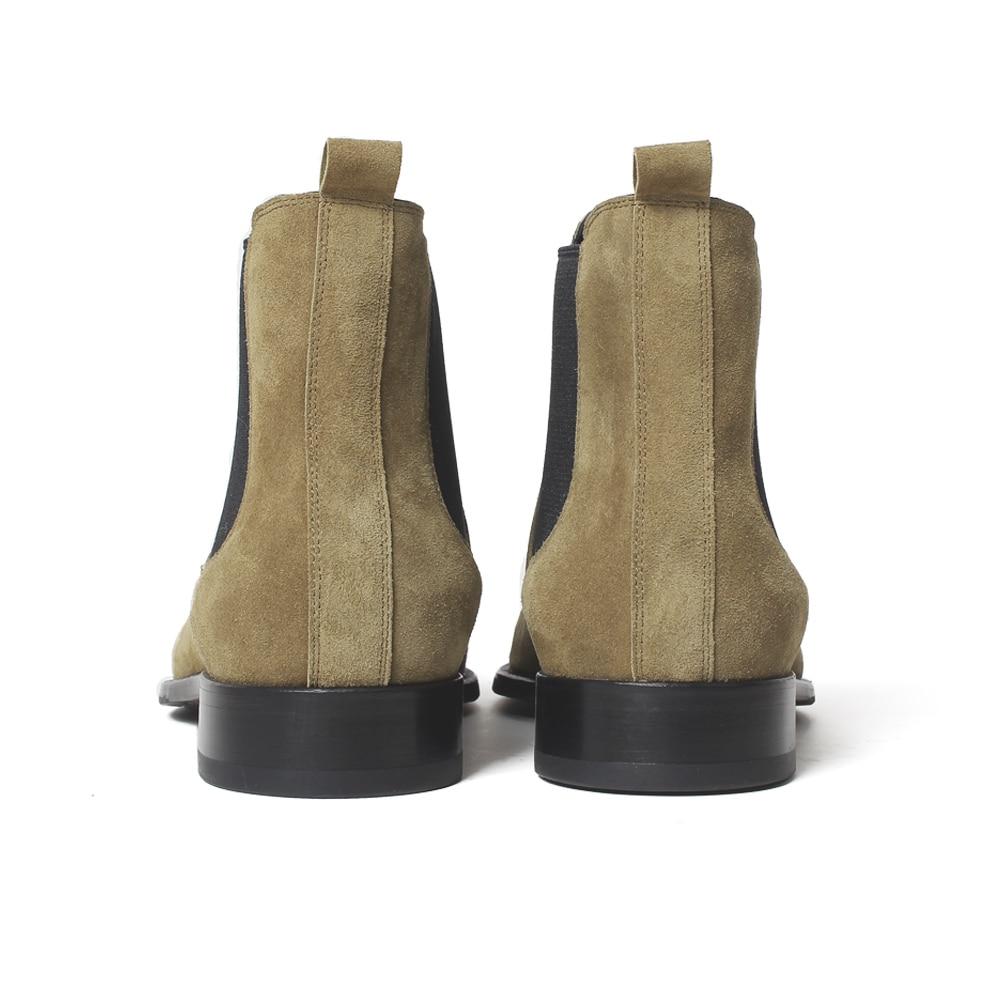 Купить с кэшбэком VIKEDUO 2020 Classic Chelsea Boots Men Handmade Suede Ankle Boots Male Bespoke Autumn Square Toe Men's Shoe Wedding Office Botas