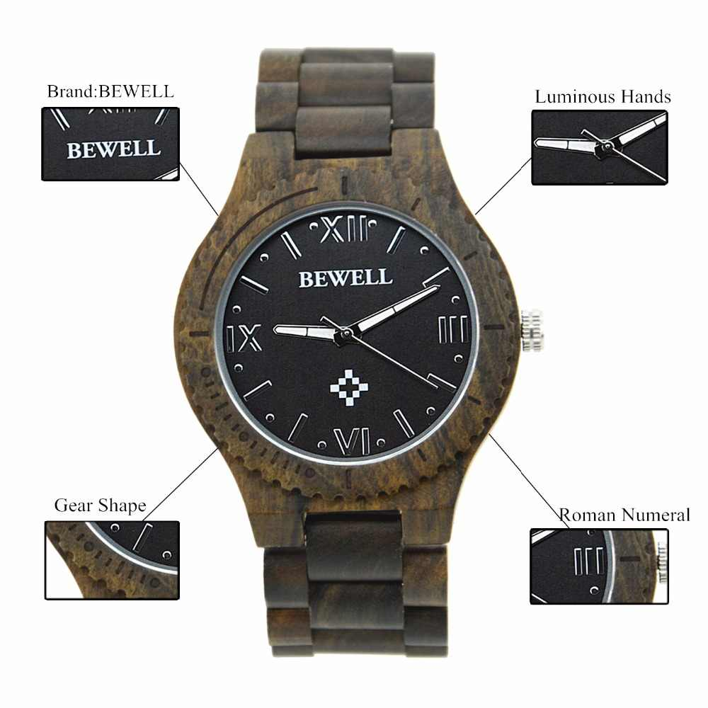 BEWELL Wooden Quartz Watches for Men Roman Numeral Time Luminous Clock Hands Crafted Luxury Wrist Watch Reloj Hombre 065A
