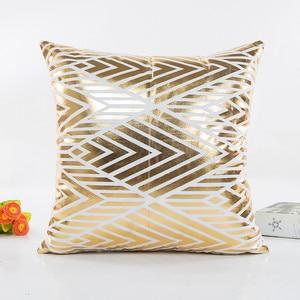 Image 3 - Модный геометрический Золотой фольгированный чехол для подушки 45X45 см, высокое качество, диван, талия, наволочка для подушки, украшение для дома