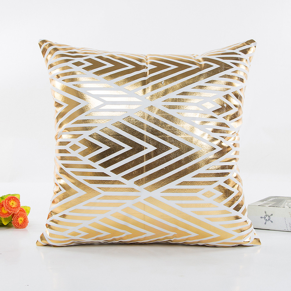 Image 3 - Fashion Geometric Gold Foil Printing Pillow Cover 45cmX45cm High Quality Sofa Waist Throw Cushion Cover Bed Home Decoration-in Cushion Cover from Home & Garden