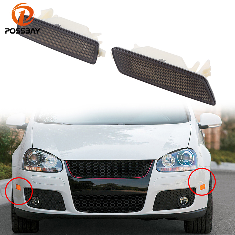 POSSBAY Front Bumper Reflective Light Shell for VW Golf/R32/GTI/Rabbit/Jetta MK5 Side Marker Turn Signal Lights Without Bulbs mobile phone