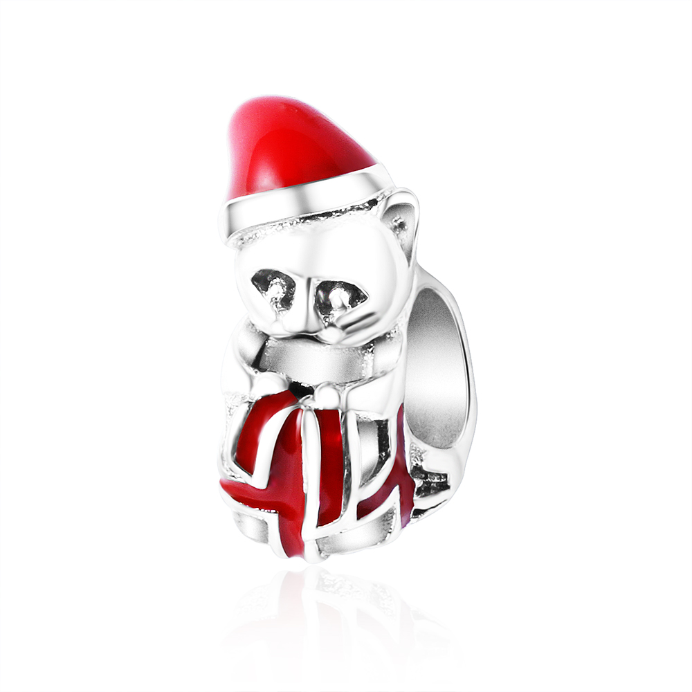 Christmas Kitten Bead Charms With Berry Red Enamel Fits Pandora Charms Bracelet 925 Silver Cute Animal Beads 2017 Christmas Gift