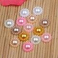 (200 unids/lote) mix colors 13mm imitación mitad perlas flatback redondo granos de la flor diy accesorios adornos