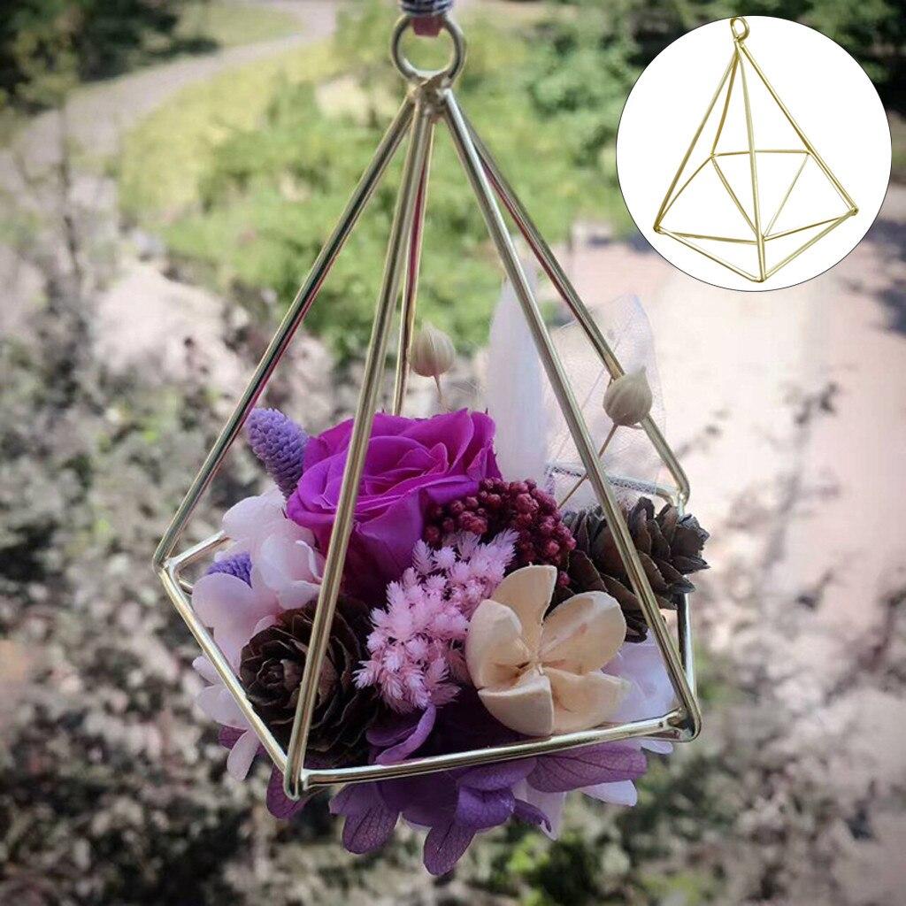 Estantería de Pared con diseño de flores geométricas para el hogar, macetero colgante de aire con marco de Metal para decoración de Pared y jardín, 19June4 P30