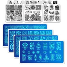 Biutee Nail Art Stamp Stamping Templates Stamper Scraper Kit 4 Manicure Plates Set with 1 Polish  Leaves Flowers Decor