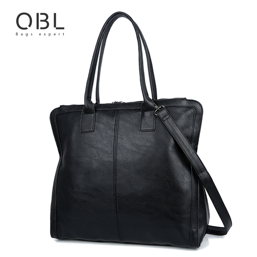 QiBoLu 2017 Black Tote Handbags Shoulder Bag Women Ladies Hand Bags Bolsas Feminina Bolsos Mujer Sac a Main Dames Tassen WB33 women leather handbags messenger bags sac a main femme de marque bolsa feminina bolsas bolsos mujer tote shoulder bag cow tassen