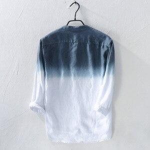 Image 2 - New spring 2019 Shirt Men linen cotton three quarter Sleeve Shirts For Men Standing collar  Comfortable Shirt Asian size M XXXL