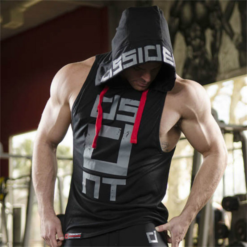 Summer Men Fitness Hoodies Gyms   Tank     Tops   Sleeveless Bodybuilding Tee Shirts Fashion Strong Male Workout Hooded Vest Sportswear