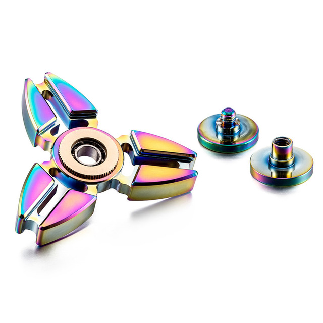 Hand Tri Spinner Triangle Crabs Rotating Torqbar Professional Attention To Autism Four Corners Crabs Tip Gyro Ball Rainbow Color