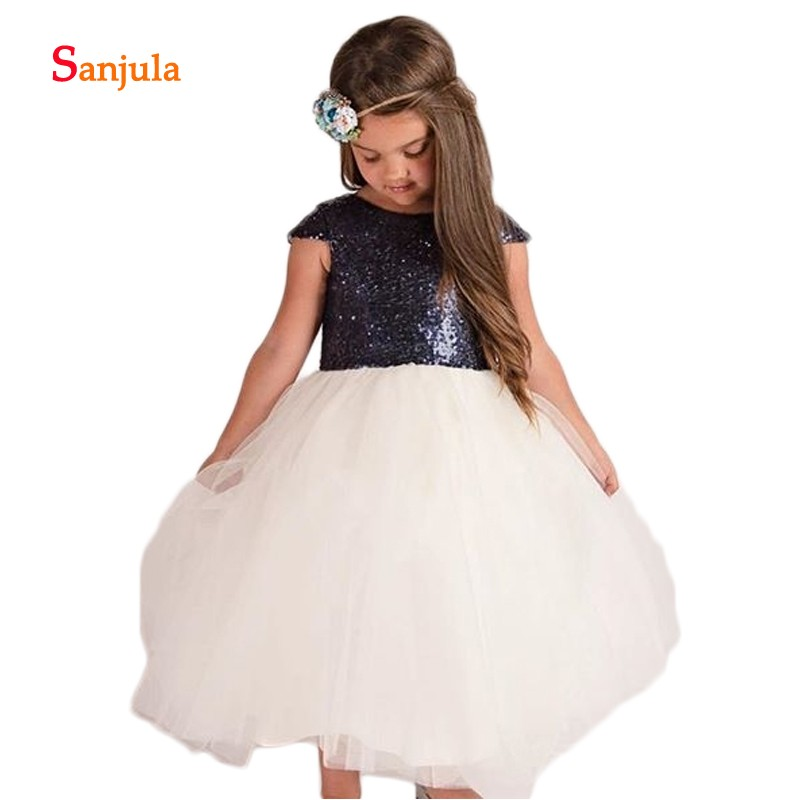 Cap Sleeve Navy Sequins   Flower     Girls     Dresses   with Ivory Tulle Puffy Ball Gown   Girls   First Communion   Dresses   vestido longo D519