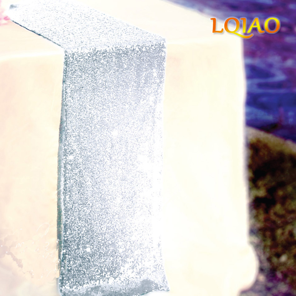 Silver Sequin Table Runner Big