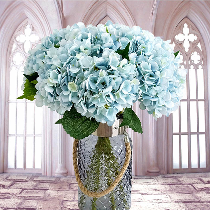 artificial flowers cheap silk hydrangea bride bouquet wedding home new year decoration. Black Bedroom Furniture Sets. Home Design Ideas