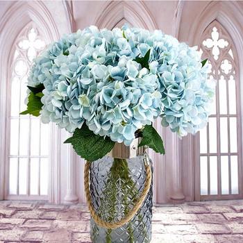 Sztuczne kwiaty tanie jedwabna hortensja bukiet panny młodej ślub dekoracja domu na nowy rok akcesoria do układania kwiat w wazonie tanie i dobre opinie CN (pochodzenie) Bukiet kwiatów Ślub Jedwabiu