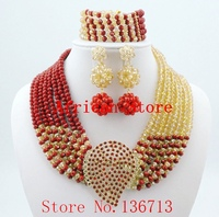 Hot New Bridal Jewelry Sets Red Nigerian Wedding African Beads Jewelry Set Crystal Fashion Gift Neckalce Free Shipping L216