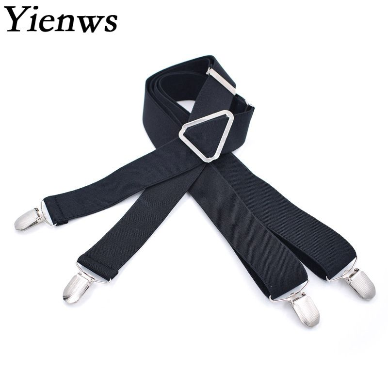 Yienws Bretelles Pour Homme Black Suspenders For Men X Back Large Size Braces Suspenders For Tall And Fat 3.5*120cm YiA014