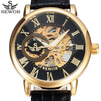 SEWOR Luxury Brand Skeleton Mechanical Watch Men Leather Wristwatches Casual Winner Mens Watches Gold Clock Male