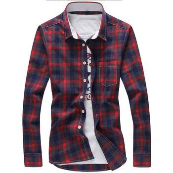 cfd4a8750b39 5XL плед рубашки для мужчин клетчатая рубашка бренд 2019 Новая мода кнопка  вниз с длинным рукавом Повседневные рубашки плюс размер Прямая дост.