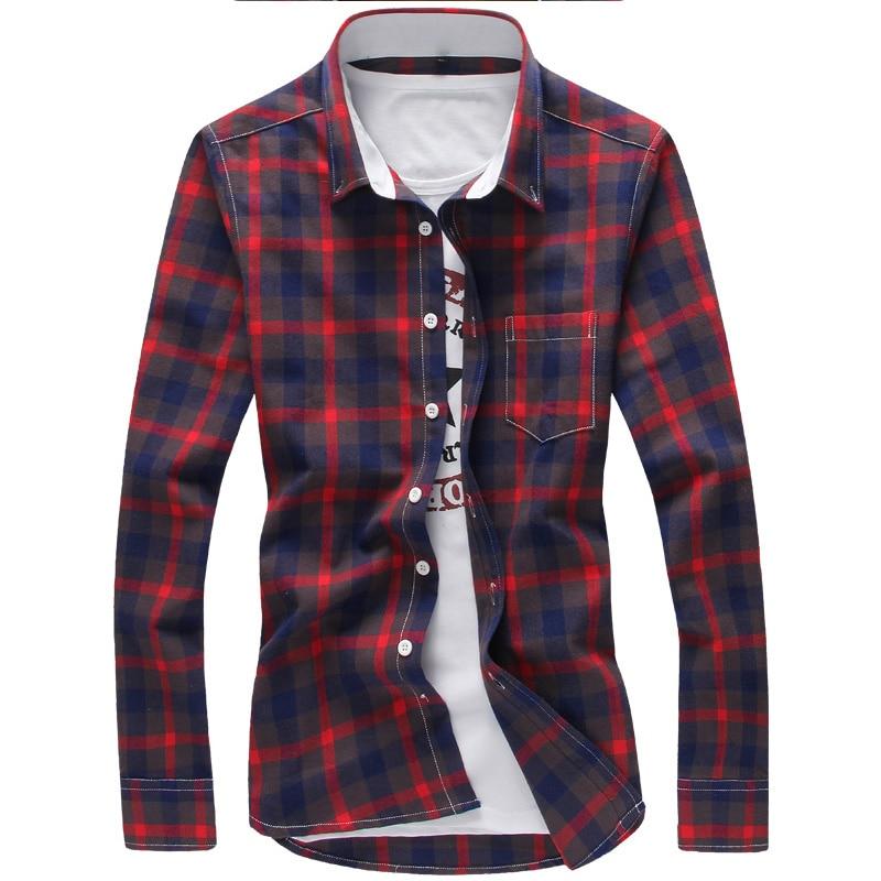 5XL Plaid Shirts Men Checkered Shirt Brand 2020 New Fashion Button Down Long Sleeve Casual Shirts Plus Size Drop Shipping