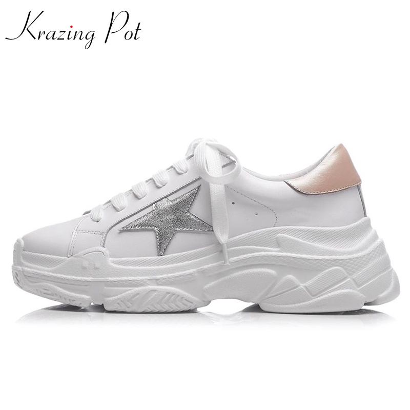 Krazing Pot genuine leather five-star pattern platform white color sneakers round toe lace up personality vulcanized shoes L78