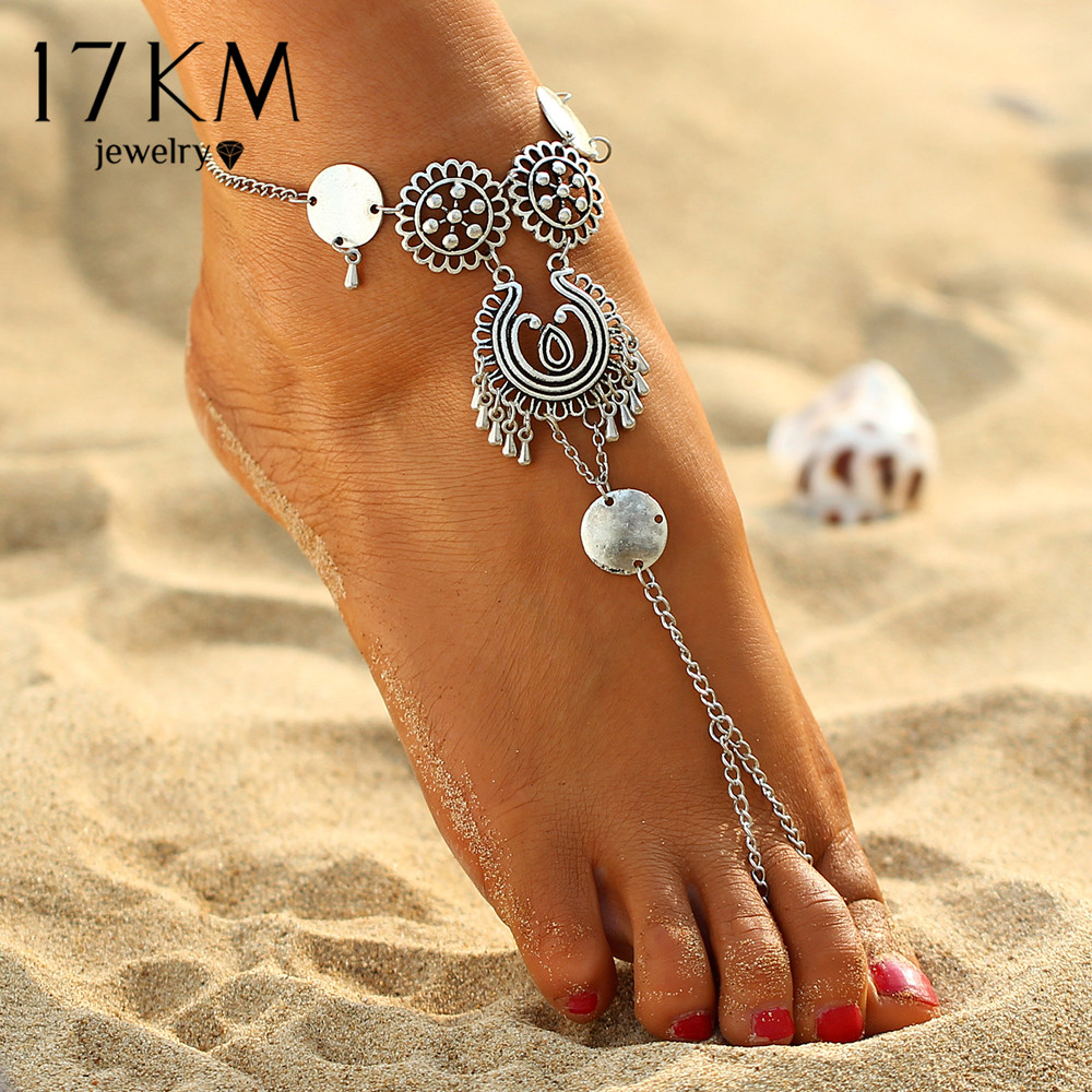 17KM Vintage Antique Retro Coin Anklets For Women Yoga Ankle Bracelet Sandals Brides Shoes Barefoot Beach Gifts 2017